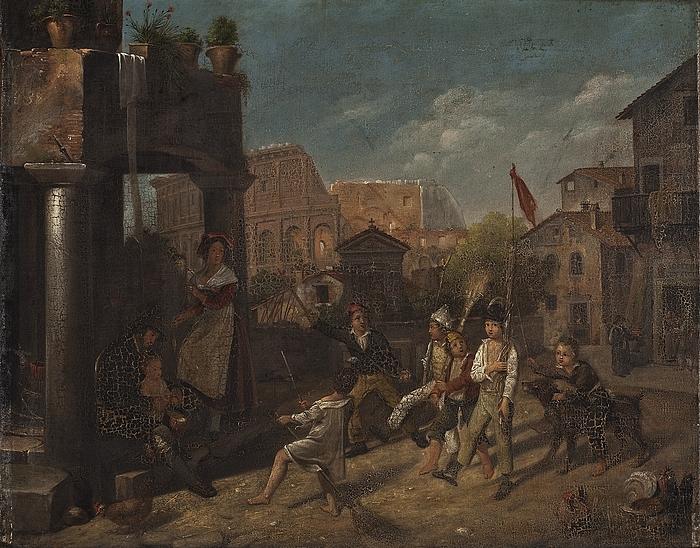 Børn leger soldater i en romersk gade