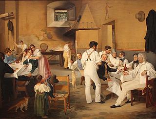 D. Blunck: Danske kunstnere i osteriet La Gensola, 1836, olie på lærred, 71 x 94 cm, Det nationalhistoriske Museum på Frederiksborg.