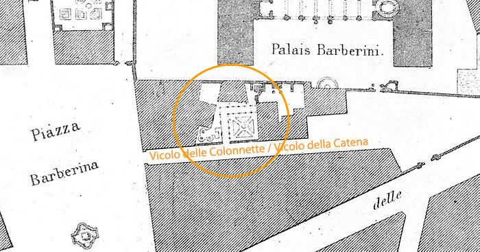Kort fra Letarouilly med markering af værkstedskomplekset i Vicolo della Catena/Colonnette.