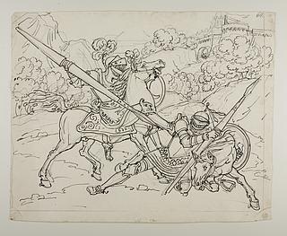 Don Quixote angribes af Måneridderen
