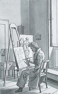 Martinus Rørbye: Interiør fra Kunstakademiet, 1826