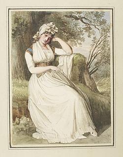 Kvinde siddende på en græsbænk