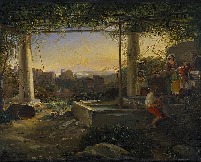 Italienske landfolk ved en cisterne