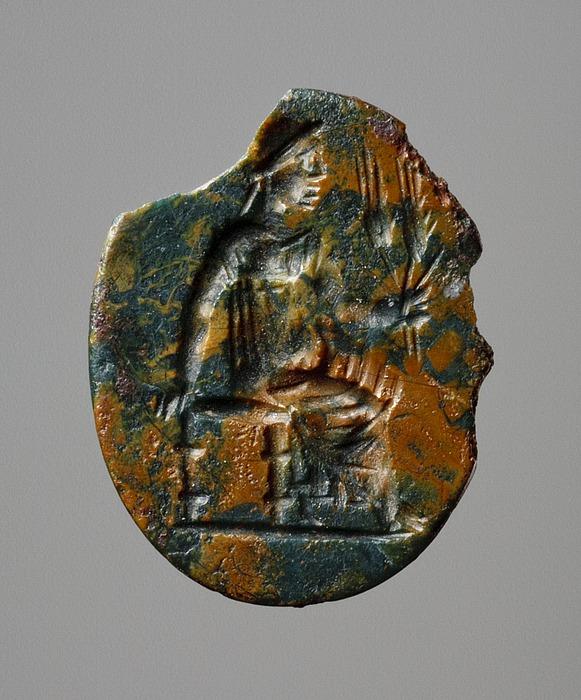 Demeter, siddende med kornaks. Romersk ringsten