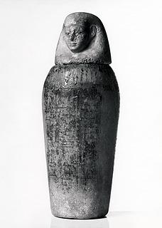 Kanopekrukke med menneskehovedlåg, hieroglyfindskrift samt påmalet halsfrise og Osirisfigur. Ægyptisk, Nye Rige