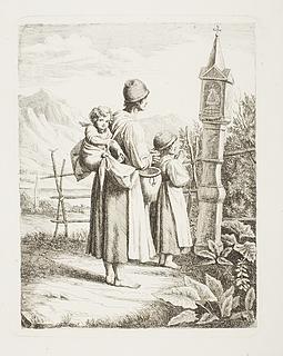 Tiggerske med to børn står foran et Madonnabillede på vej til Tyrol