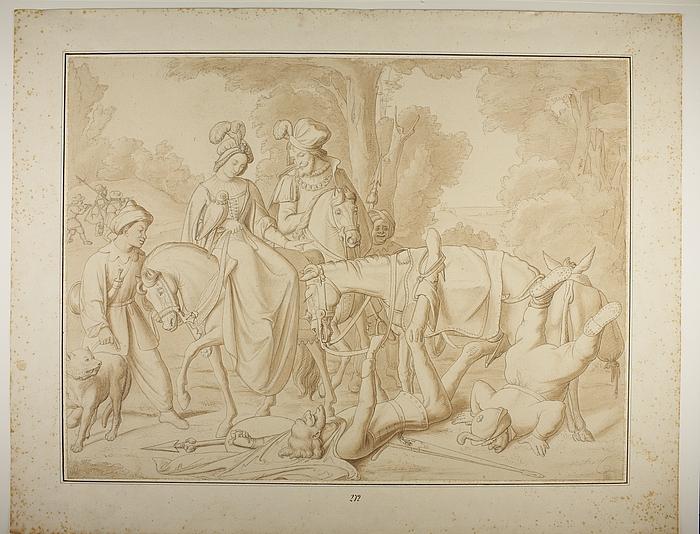 Don Quixote og Sancho Panza faldet på jorden