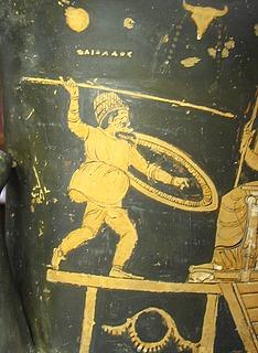Komisk skuespiller i rollen som Hephaistos, her kaldet Daidalos - Copyright tilhører Helle Salskov Roberts