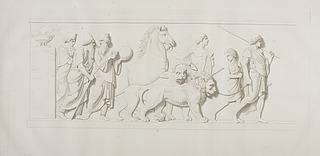 Tre kaldæiske astrologer, perser med en løve og dreng med en tiger
