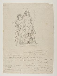 Bacchus støttende sig til en ung satyr