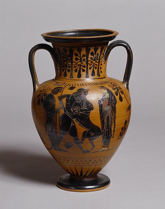 Amfora med Herakles og den nemeiske løve (A) og løbende amazone (B). Græsk