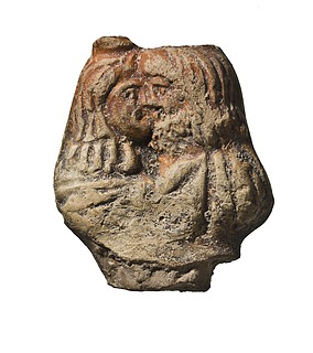 Håndtag fra lampe med Serapis og Isis. Romersk