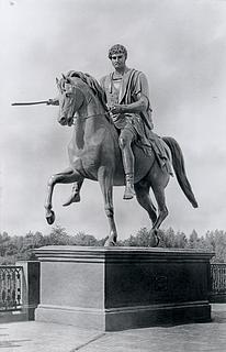 Poniatowski-statuen, opstillet på godset Homel, foto 1893