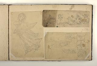 Kvindefigur i folderig dragt. Triton og kvinde på havhest. Ornamenter