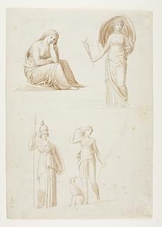 Siddende kvinde. Stående kvinde. Minerva. Diana
