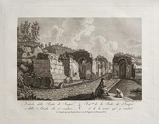 Veduta delle Porta di Pompei, e della Strada che vi conduce