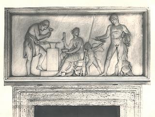 Venus, Mars og Amor i Vulkans værksted, dørstykke i gården på Palazzo Giraud-Torlonia, Rom, foto 1929