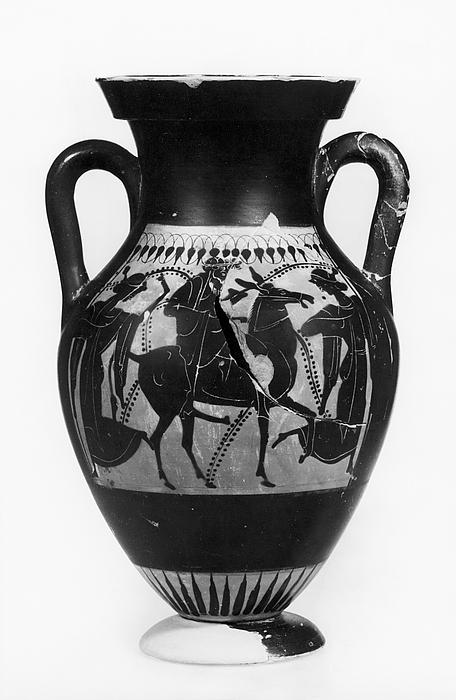 Amfora med Dionysos og mænader (A) og en kvinde mellem to krigere (B). Græsk