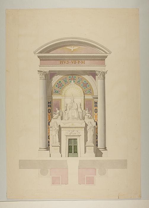 Opstillingsforslag for monument over Pius 7., grundplan og opstalt