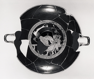 Kylix med atleter (A,B) og kurtiseringsscene (tondo). Græsk