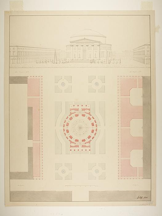 Thorvaldsen Museum projekteret på den ufuldendte Frederiks Kirke kaldt Marmorkirken, perspektivisk tegning og situationsplan