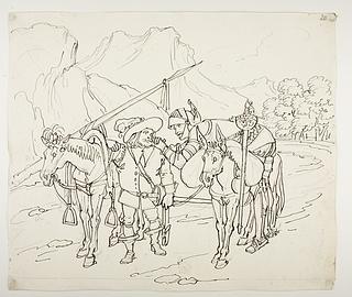 Don Quixote ligger mørbanket over æselets ryg, Sancho Panza gående