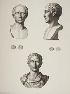 Bronze buster af Cæsar. Romerske mønter med portræt af Cæsar