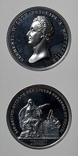 Medalje forside: Klemens von Metternich. Medalje bagside: Kunsten siddende ved et alter med kunstens redskaber og frembringelser