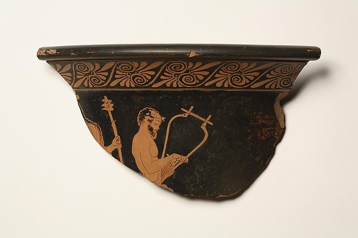 Krater med Dionysos og en lyrespillende satyr. Græsk