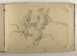 Kentaur og springende mænade med thyrsosstav