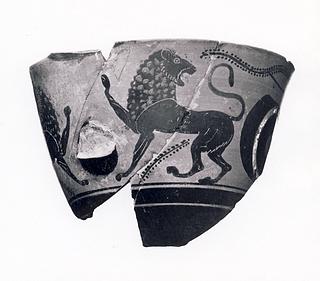 Kyathos med øjne og løver. Græsk