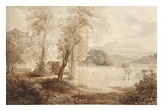 Historisk landskab med et offeroptog