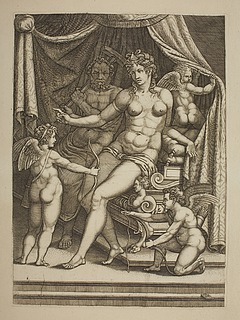Venus og Vulkan omgivet af tre amoriner