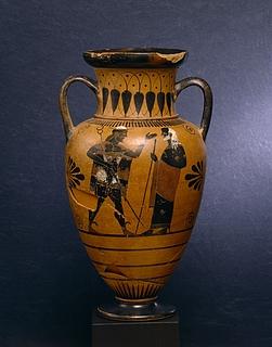 Amfora med Herakles og Triton (A) og Hermes og Nereus (B). Græsk
