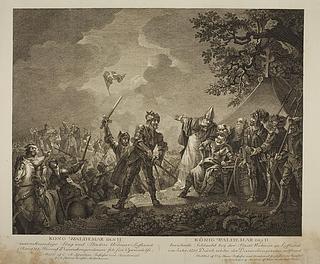 Dannebrog falder ned fra himlen under Volmerslaget ved Lyndanis 15. juni 1219