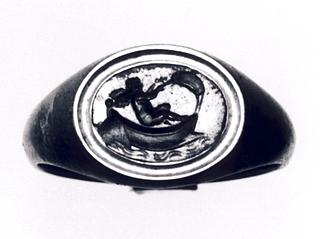 Eros sejlende i en båd. Hellenistisk-romersk ringsten