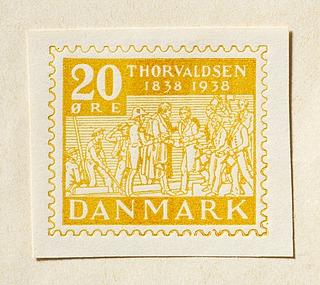 Prøvetryk af udkast til frimærke med Thorvaldsens hjemkomst 1838