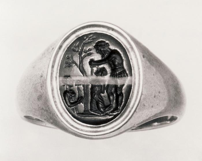 Agamemnon ofrer Iphigenia (?). Romersk republikansk ringsten