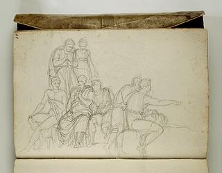 Gruppe med stående og siddende mænd