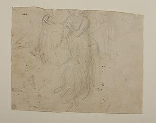 Svævende engel, der holder et klæde med portrætskitser, til ubekendt gravmæle