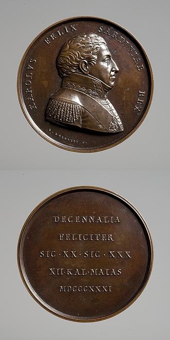 Medalje forside: Kong Karl Felix af Sardinien. Medalje bagside: Inskription