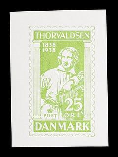 Prøvetryk af udkast til et dansk frimærke med Thorvaldsens portræt