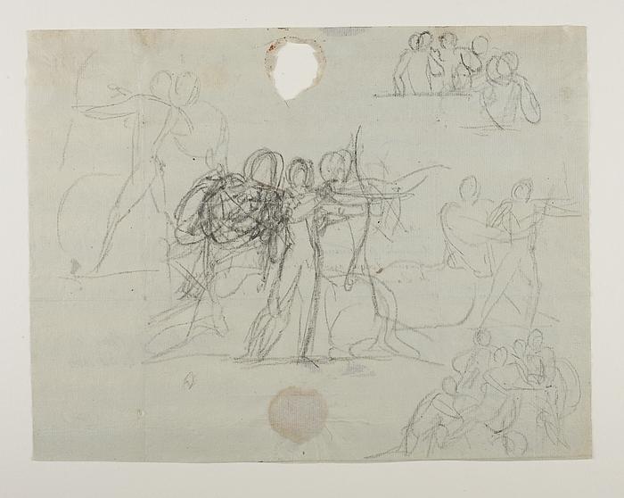 Chiron lærer Achilleus at skyde med bue. Priamos bønfalder Achilleus om Hektors lig