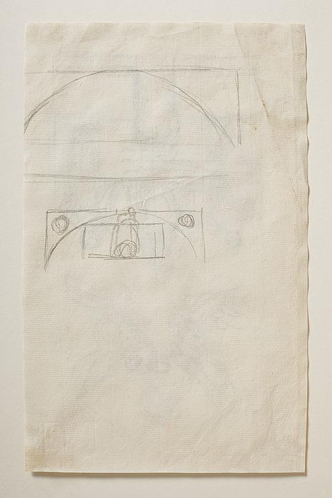 Øverste, buede del af nichen skitseret til monument over Pius 7.