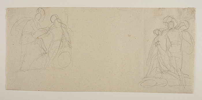 Achilleus forbinder Patroklos sår. Achilleus og Penthesilea