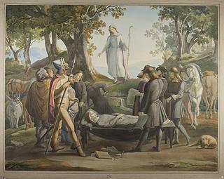 Hyrden Chrysostomos ligbegængelse, scene fra Cervantes' roman Don Quixote