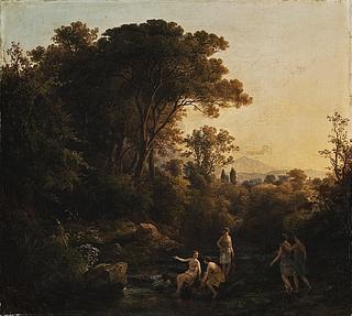 Landskab med badende jagtnymfer