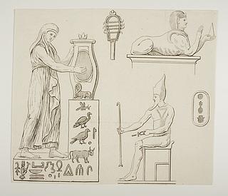 Kvindefigur. Sfinx. Siddende mandlig figur. Hieroglyffer