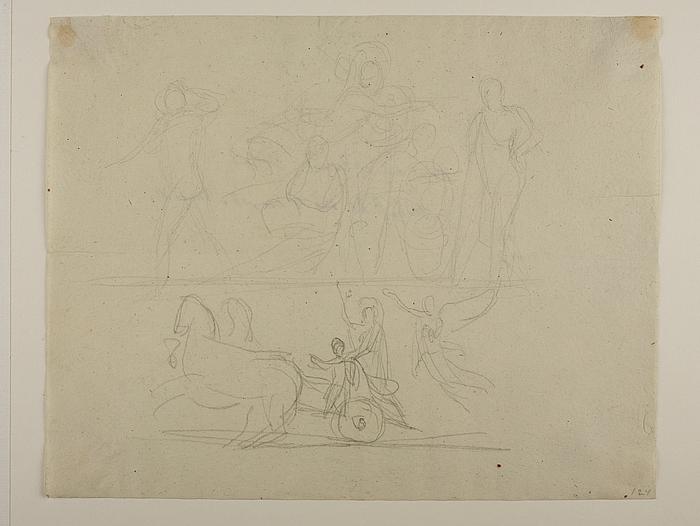 Alexander den Store på triumfvognen til Alexander den Stores indtog i Babylon. Minerva tilkender Odysseus den faldne Achilleus' våben