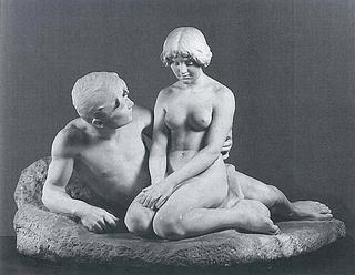 Stephan Sinding: Idyl, 1912, marmor, 95 x 149 x 102 cm. Betegnet, bagpå f.n.t.h.: Stephan Sinding. sc. / Paris 15.7. 1912. 1914. Ny Carlsberg Glyptotek, inv. nr. MIN 1755